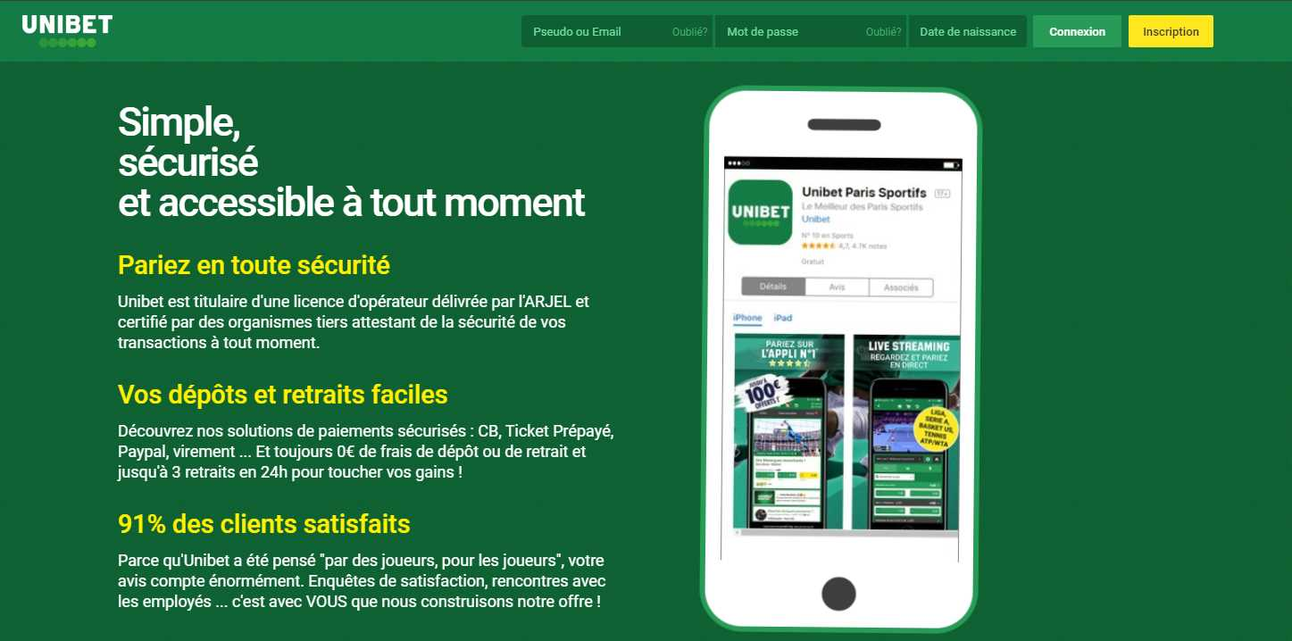 Fonctionnalités de l'application mobile Unibet apk
