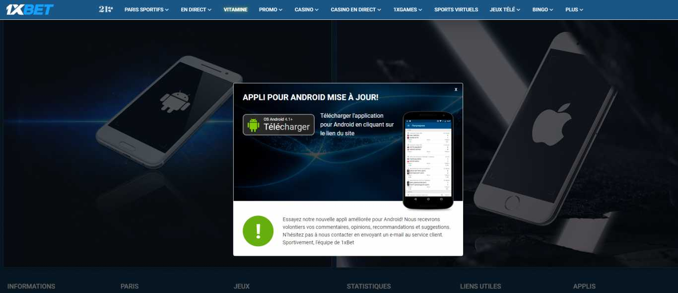 Télécharger application 1xBet Android