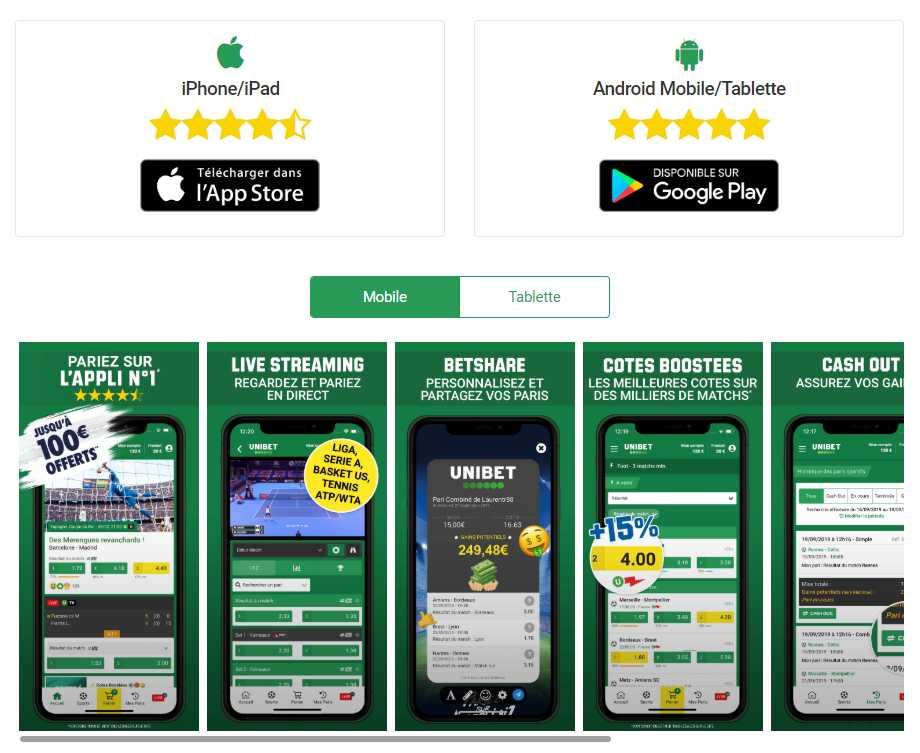 Télécharger l'application Unibet pour Android et iOS